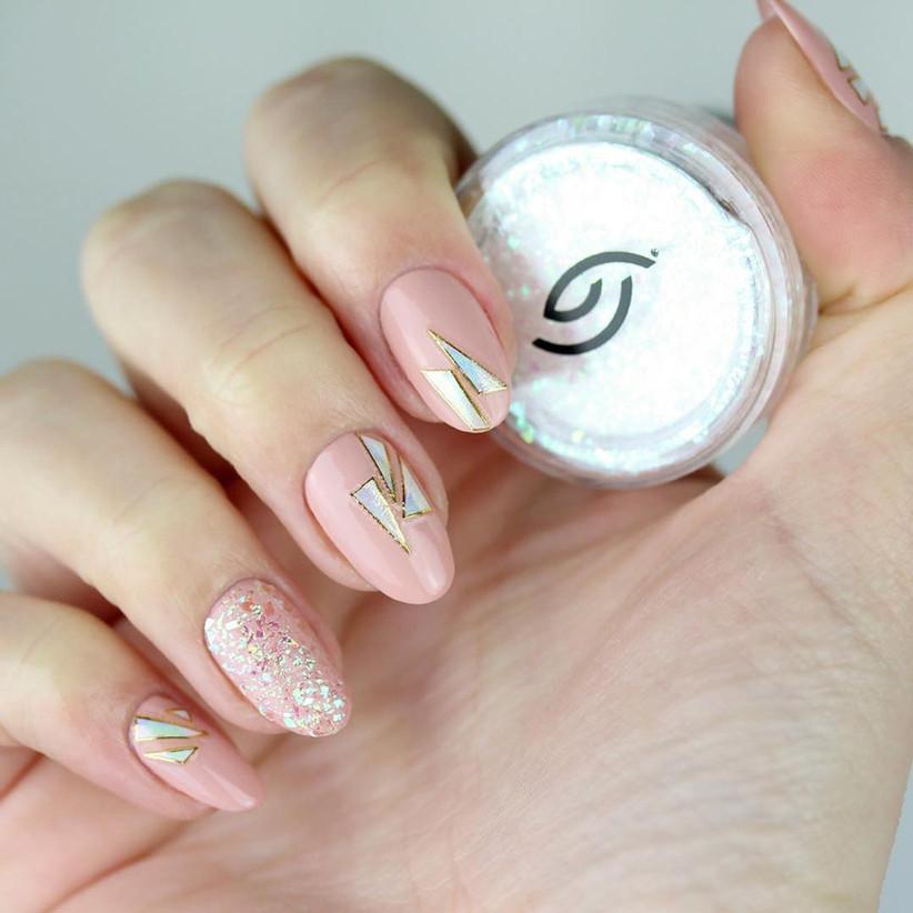 Wedding day manicure geometric design