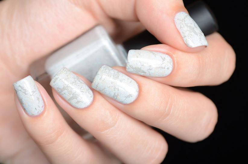 Wedding day manicure marble design