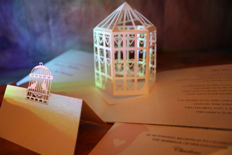 Pop up bird cage invitation