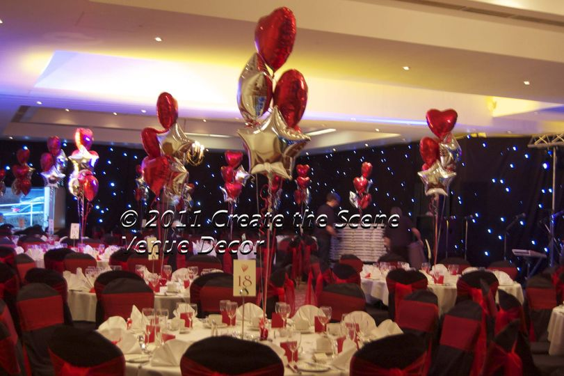 Black chair covers and balloon decor