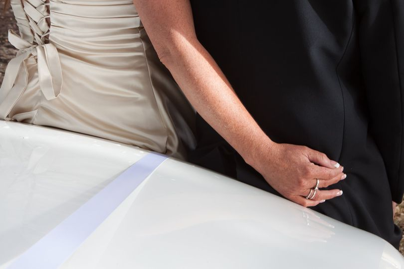 Bride's hand on groom