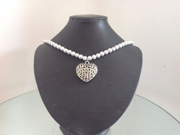 Silver glass pearl and heart