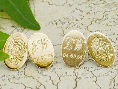 Gold fingerprint cufflinks