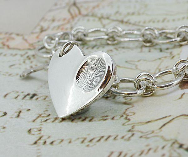 Silver fingerprint heart