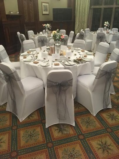 Chair covers sashes and table