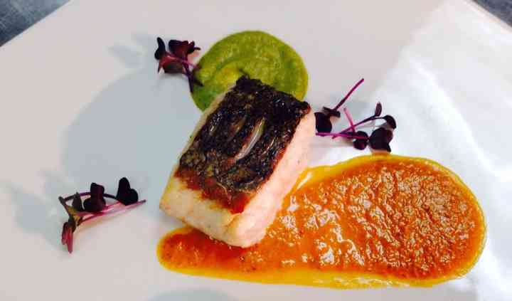 Roast fillet of Hake with Bouillabaisse and broccoli puree