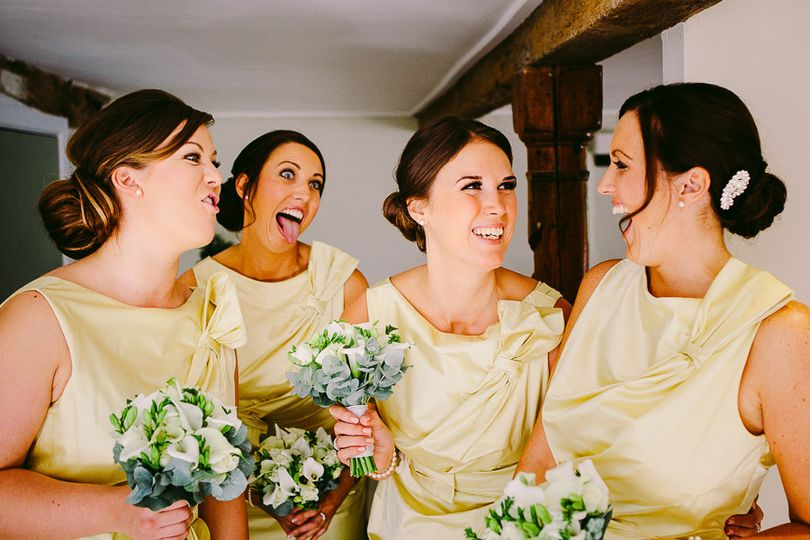 Bridesmaids pulling faces