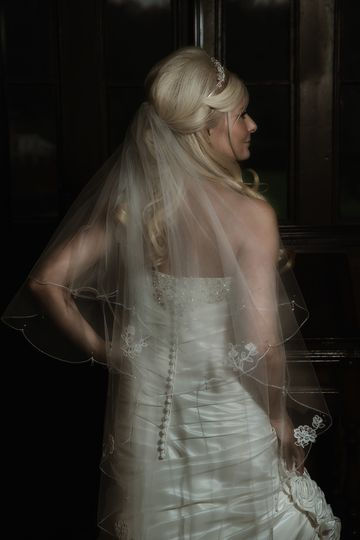 Bride's dress detail before