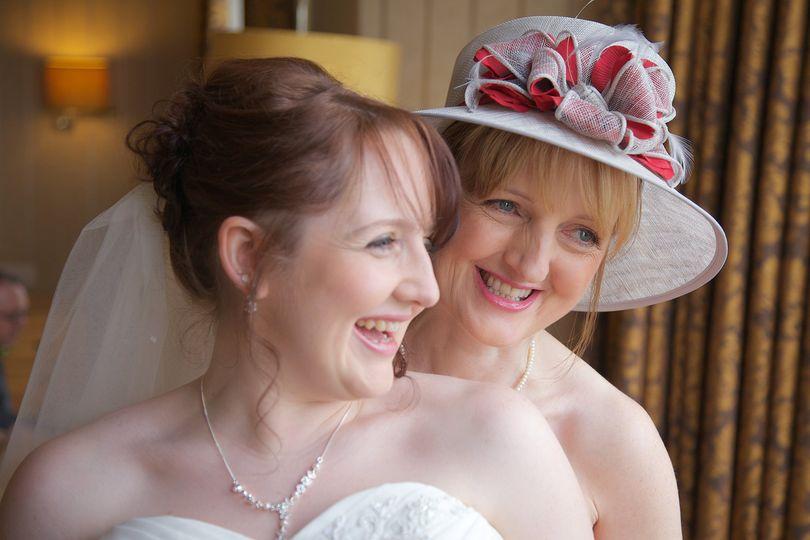 Bride with mum before ceremony