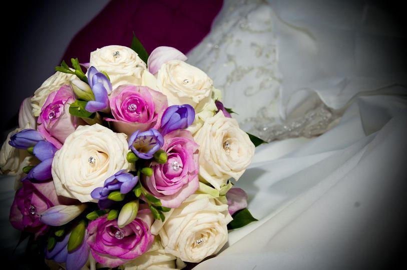 Brides hand tie bouquet.