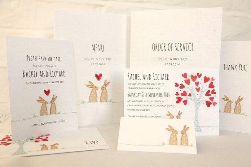 Bunnies wedding stationery