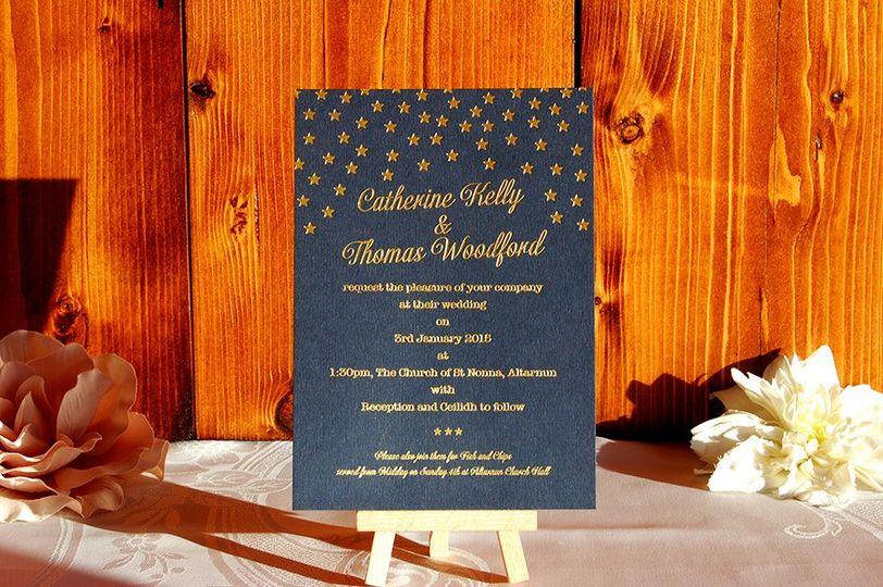 Embossed wedding invitation