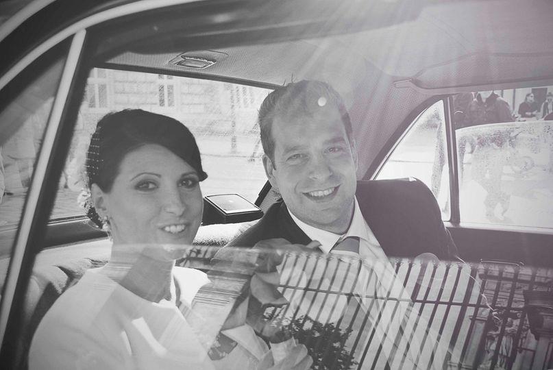 Bride groom vintage car