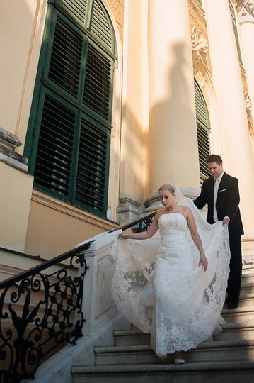 Bride and groom in Vienna