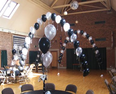 Black and white balloon arches