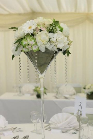 Martini glass table arrangement