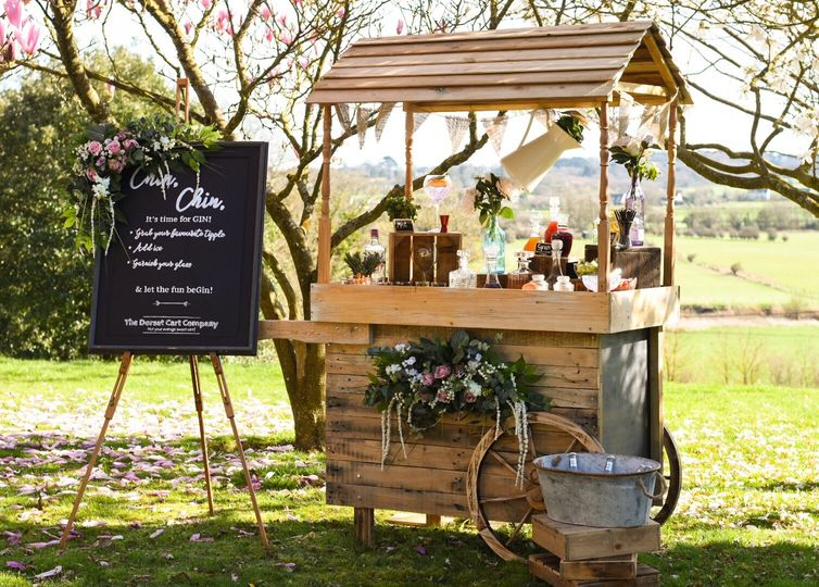 Our Gin cart with chalkboard