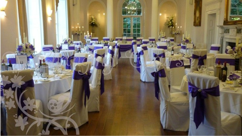 Changing chairs wedding florist derby cadbury purple chair sashes junglespirit Images
