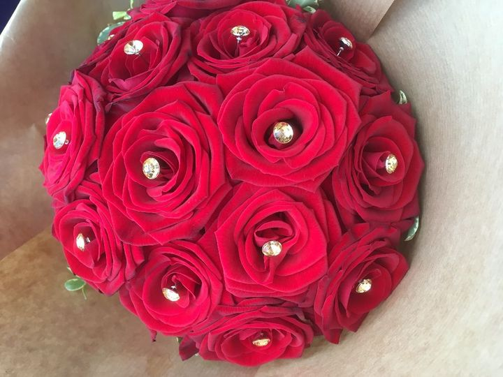 Rose and diamonte bouquet