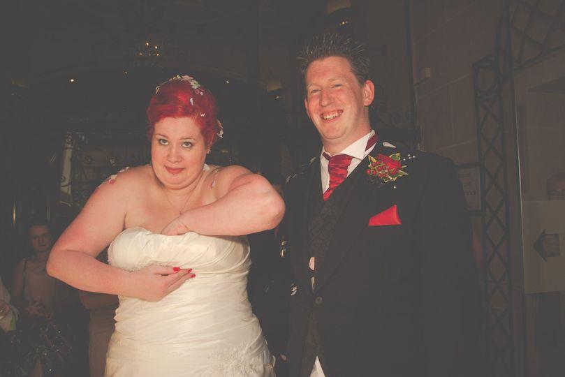 Confetti down bride's dress