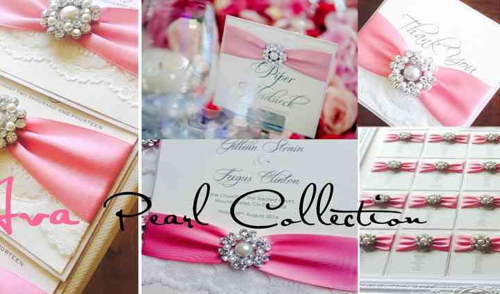 Lace pearl wedding stationery