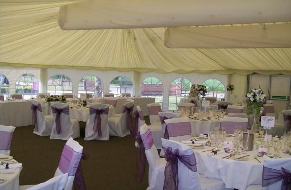 The sashes and covers brighten the wedding