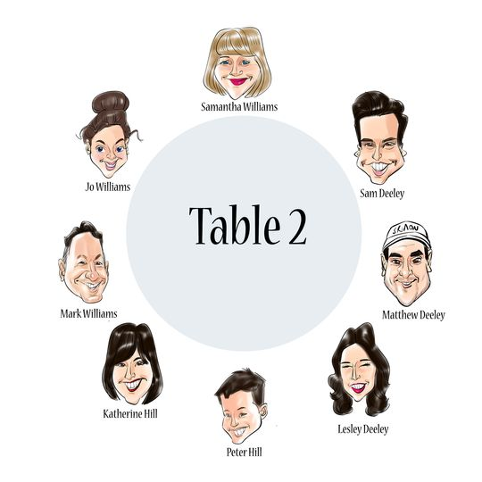 Caricature seating plans