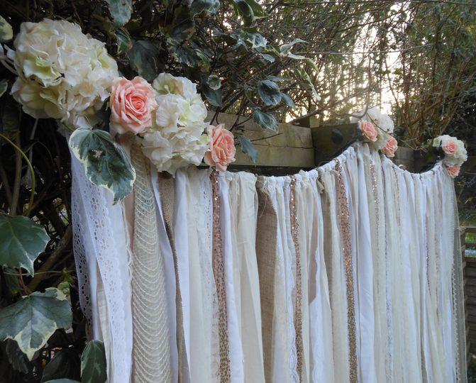 Burlap/sequin ribbon backdrop