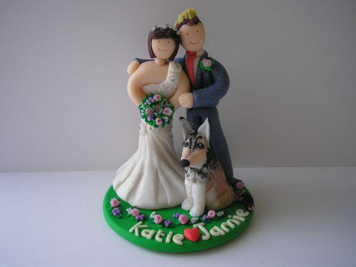 Bride groom and husky