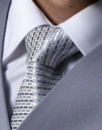 Silver brick design Tie