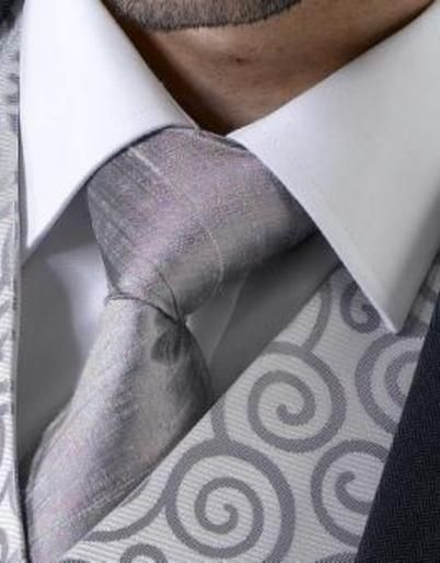 Pewter Raw Silk Tie