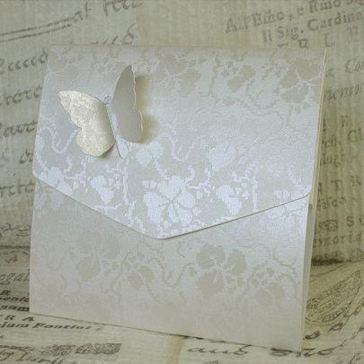 White Broderie Butterfly Pocketfold Invitation