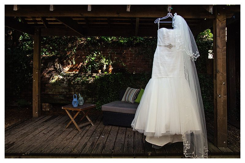 The brides dress