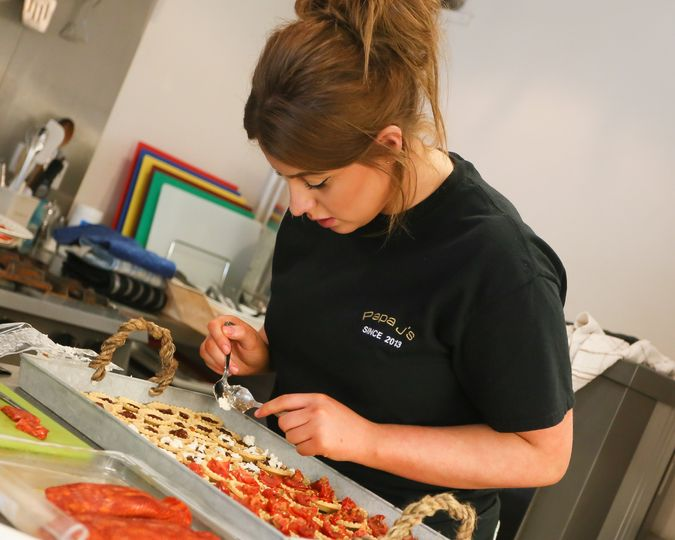 Laurin preparing canapés