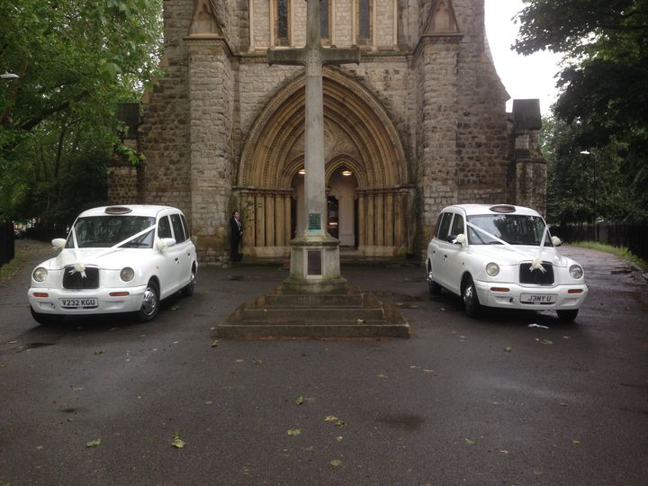Matching Modern White Taxis