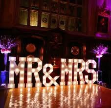 Giant Light up Mr and Mrs