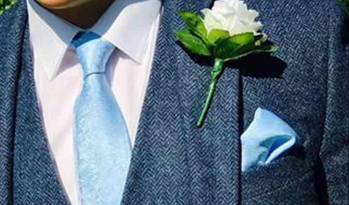 Blue tweed suit