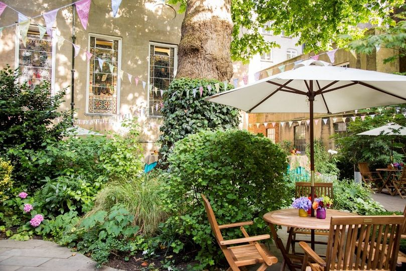 Garden with bunting