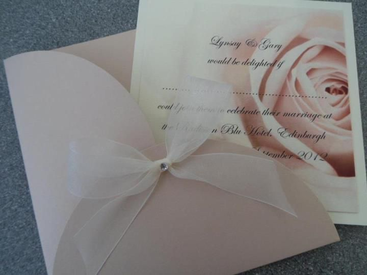 Antique rose pocket invitation