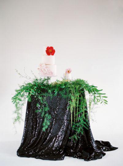 Black sequin table linen