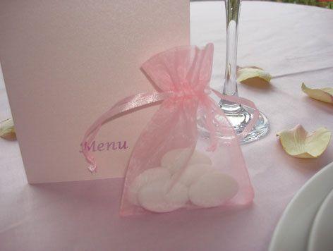 Pink organza drawstring pouch