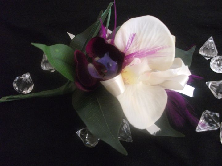 Stunning Corsage of Orchids, Ribbons and Flowers