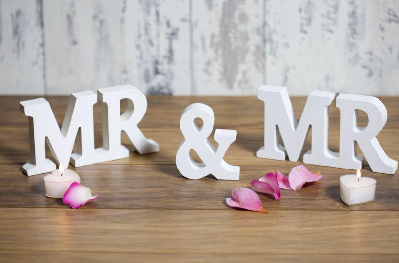 Mr & Mr White Wooden Letters