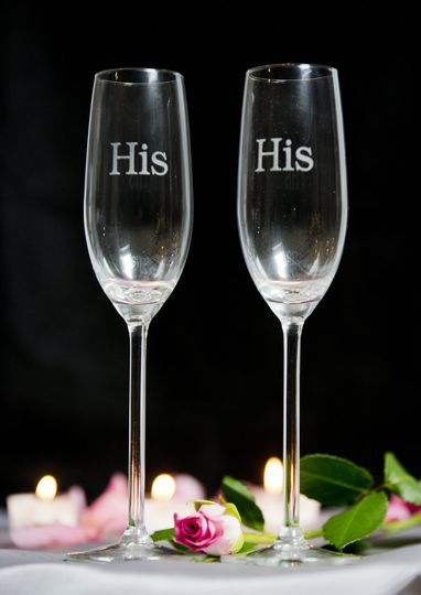 His & His Champagne Flutes