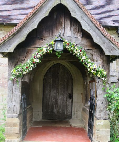 Floral arch at church