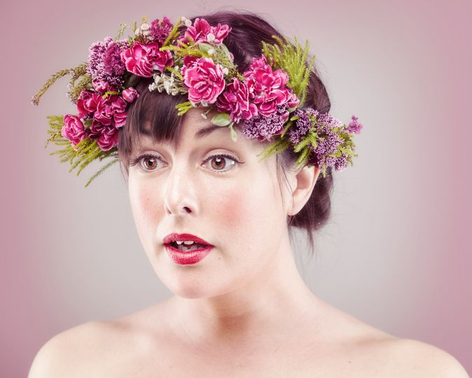 Pink carnation hair crown