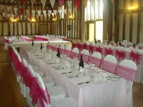 Cotton covers with fuschia sases