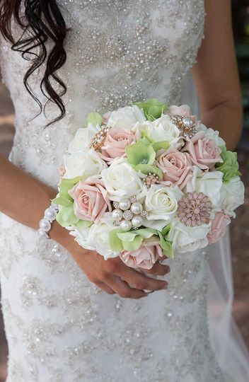 Peach and Green Brooch Bouquet
