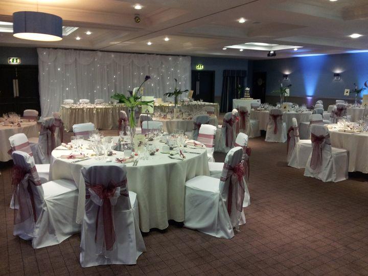 Village hotel leeds north purple set up on rounds wedding set up junglespirit Gallery
