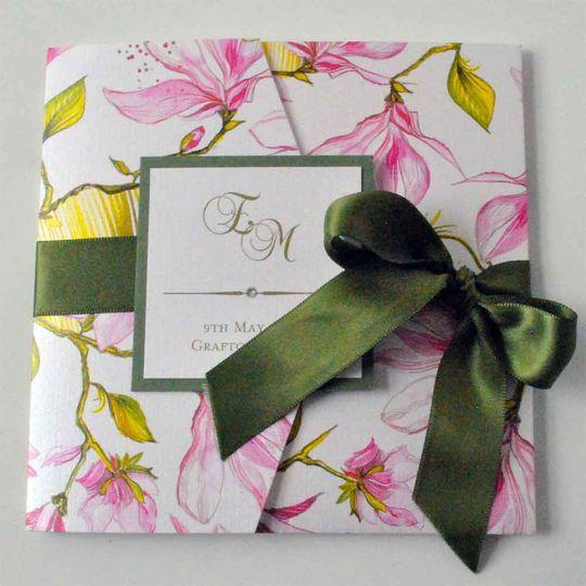 Floral pocketfold invitation